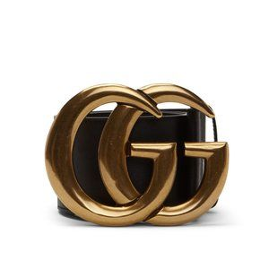 Gucci Marmont Black Leather Double G Wide Belt